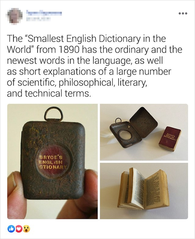 Najmanji rječnik engleskog jezika na svijetu iz 1890. godine
