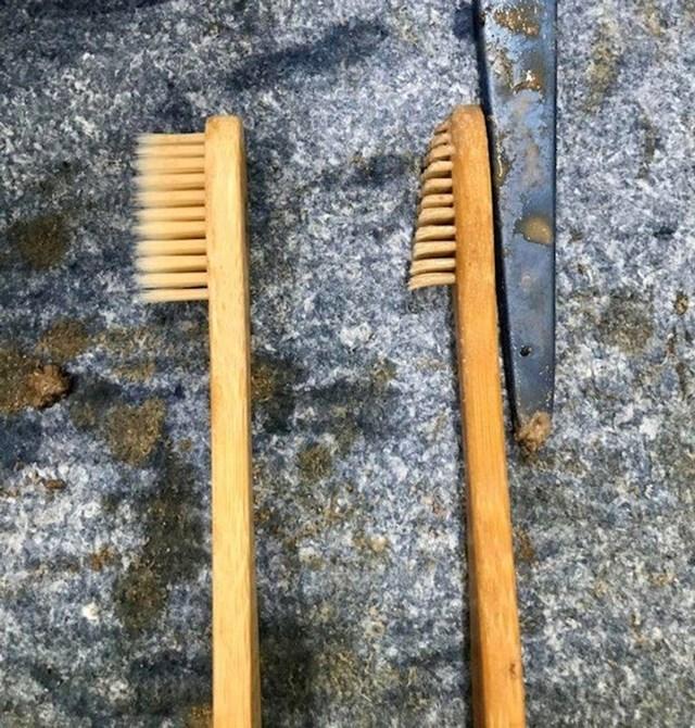 Arheološka četkica za čišćenje keramike. Lijevo je nova, desno je ona korištena jedan dan