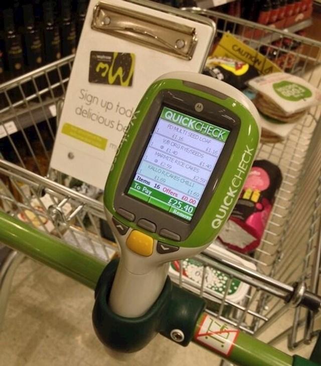 Britanski lanac supermarketa Waitrose svojim kupcima osigurava provjeru cijene artikala na kolicima za kupovinu