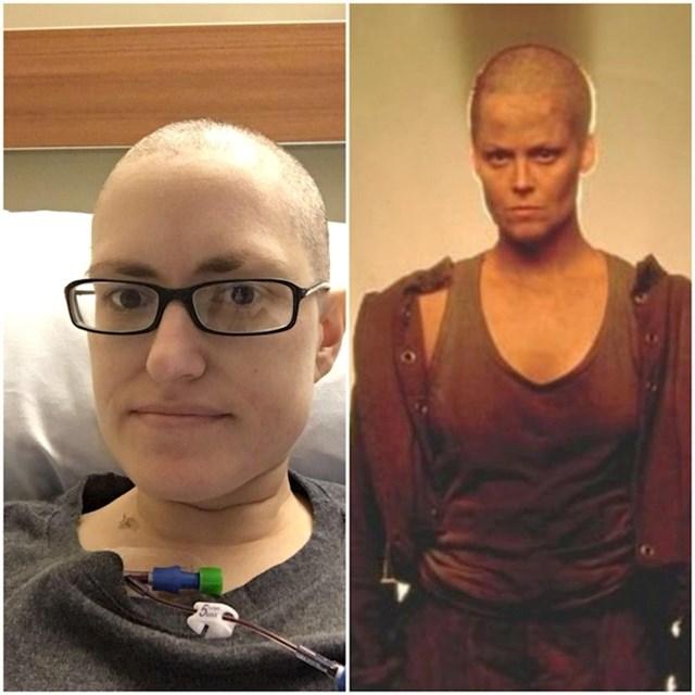 """""""Poslala sam mojoj pomajci sliku svoje obrijane glave zbog opadanja koze od kemoterapije, ona je meni poslala sliku lijevo. Učinila je da se osjećam kao heroj, zbilja mi je to trebalo."""""""
