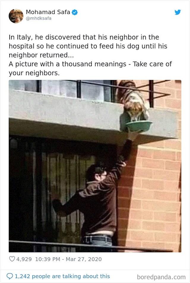Ovaj Talijan saznao je da mu je susjed u bolnici, pa je hranio njegovog psa