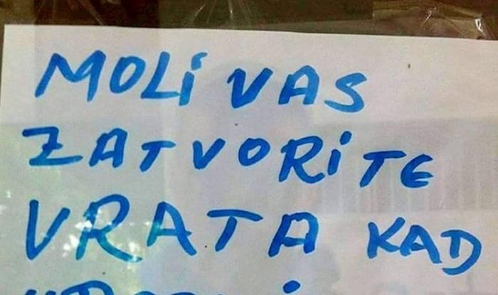 Natpis na vratima nasmijao ljude, možete li ovo pročitati?