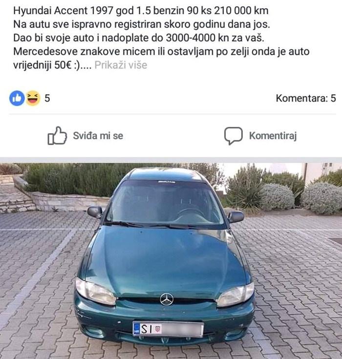 Na prvi pogled izgleda kao običan oglas za prodaju auta, no primijetit ćete nešto na slici