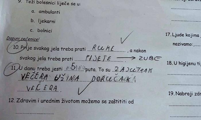 Učenik je svojim odgovorima nasmijao učiteljicu, priznala mu je njegovu simpatičnu pogrešku