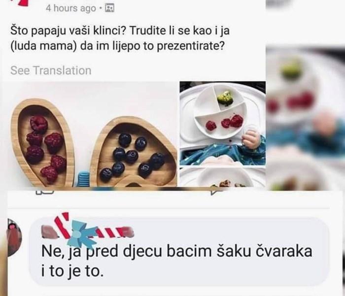 Žena se pohvalila kreativnom pripremom hrane za dijete, druga mama bila je brutalno iskrena