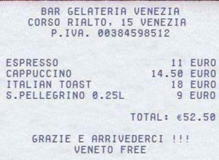 Mislite da je kod nas skupo? Pogledajte koliko su u Veneciji platili dvije kave, tost i voda
