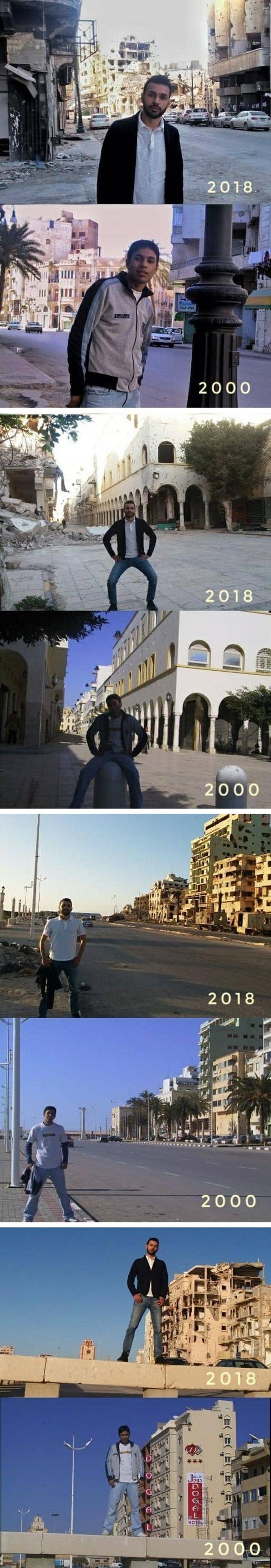 Slikao se na istim mjestima 2000. i 2018. godine te pokazao tužnu istinu o Siriji