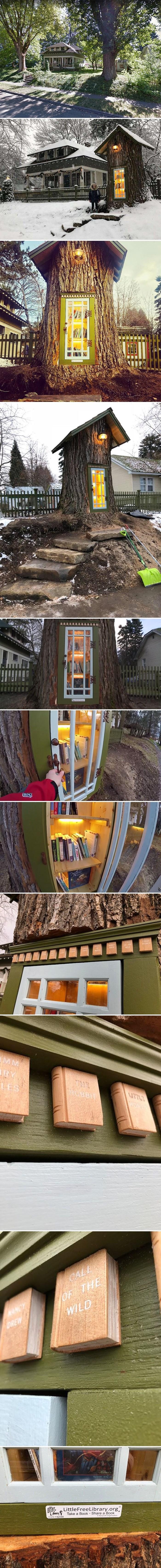 """Obitelj je iskoristila ostatke 110 godina starog stabla kako bi napravila """"besplatnu malu knjižnicu"""""""
