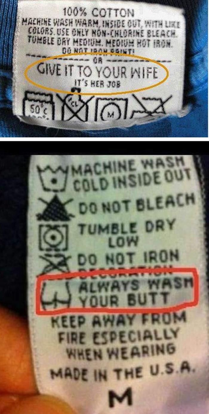 Na ovim etiketama kupci su dobili gratis urnebesne i pomalo ružne upute za pranje